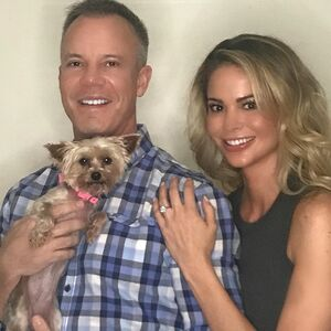 ........Yes!!!!!! I love you @bhynes29 with everything 💋  Penelope assisted her daddy by presenting me with the ring on her collar ❤️ @gagediamonds Dustin & Fan there: are no words express how much I adore my ring 💍. Brian and you guys have been so sneaky  #Soon2beBhynesToo 👰🏼🤵