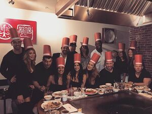 These humans are my fave...and they get stupid and wear paper hats and eat shrimp thrown at them...#squad #friendsthatarefamily #
